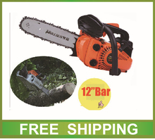 25cc mini chainsaw gas powered 2500 chain saw with 12″ bar chain orange red color accessories free shipping
