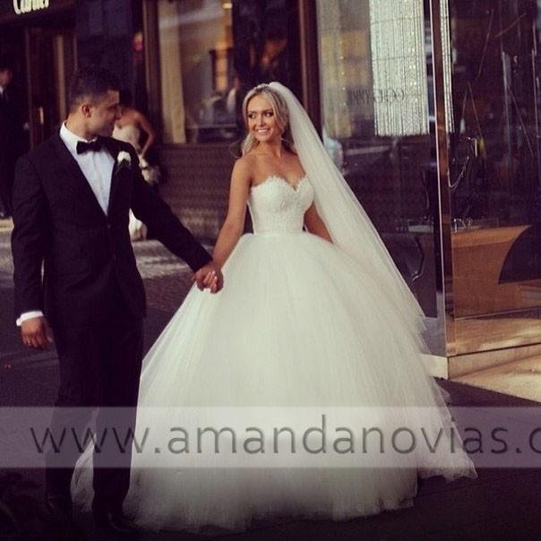новые пышные юбки возлюбленной декольте Топ кружева свадебное платье 2015 Аманда novias