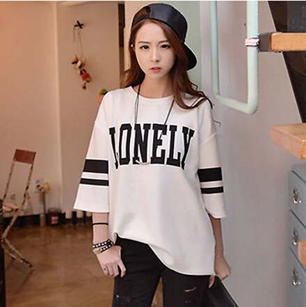 han edition 2015 summer joker students natural pure cotton short sleeve T-shirt size ladies blouse - shuijingling store
