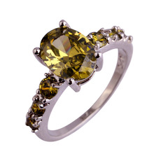 Fashion NEW AAA Wholesale Women Men Oval Cut Peridot 925 Silver Ring Size 9 Facile Design Noble European Jewelry