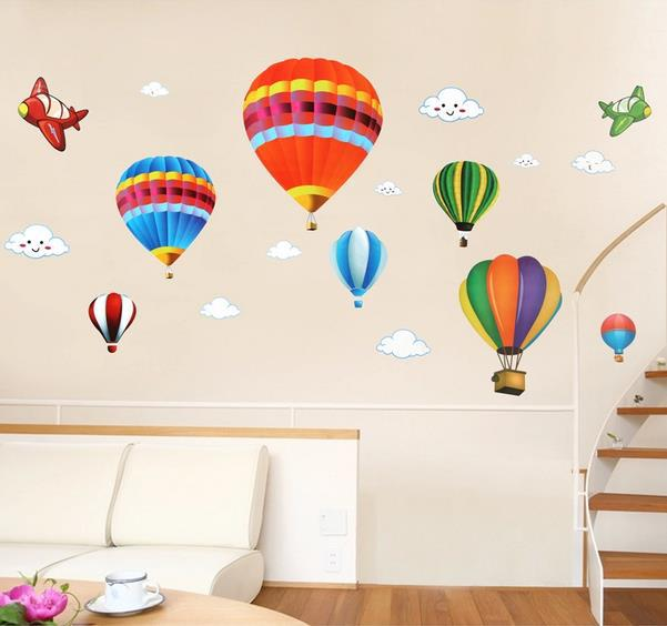 Free shipping CartoonHot air balloon children map decoration Art Decal Wall Sticker Bedroom Docor made your room wonderful(China (Mainland))