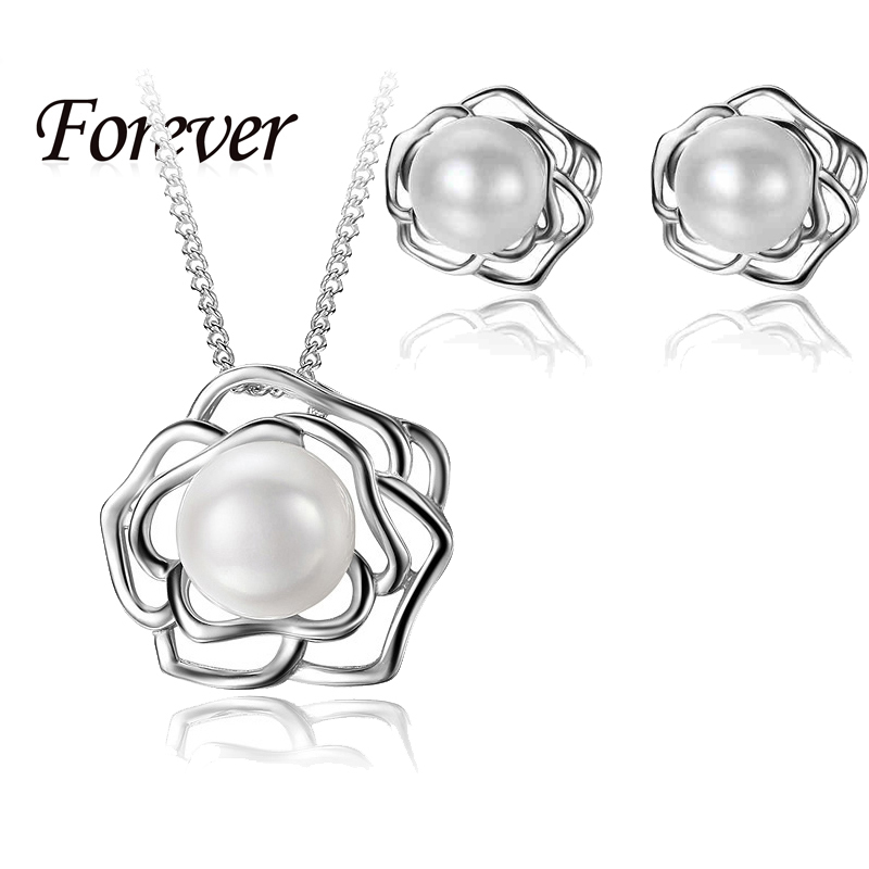 2015 New Fashion Trendy Cross Flower Necklace Earrings Jewelry Sets For Women Girl 925 Sterling Silver White Gold Plated Jewelry(China (Mainland))
