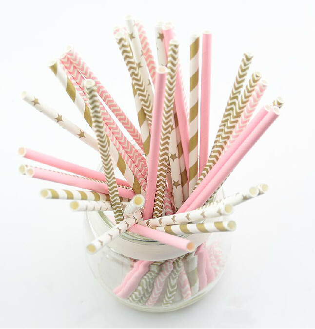 (5bags)pink gold striped mixed kids birthday wedding decorative party ...