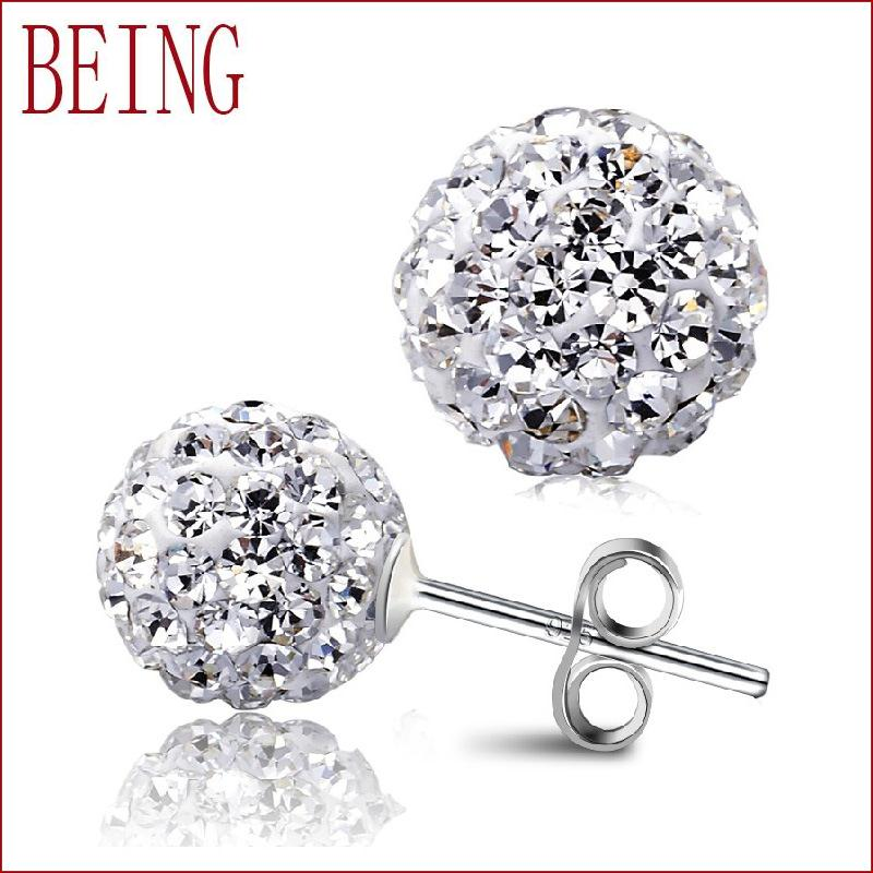 2016 new fashion high-quality luxury women silver plated earrings zircon crystal ball Shambhala jewelry wholesale(China (Mainland))