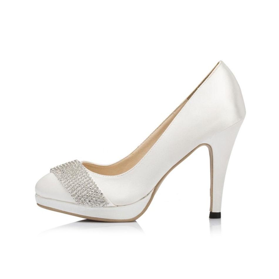 ซื้อ รอบนิ้วเท้าสีขาวไอวอรี่R Hinestoneแพลตฟอร์มของผู้หญิงรองเท้าส้นสูงส้นแต่งงานของผู้หญิงที่จัดเลี้ยงเจ้าสาวเพื่อนเจ้าสาวรองเท้าJYG087 JJ