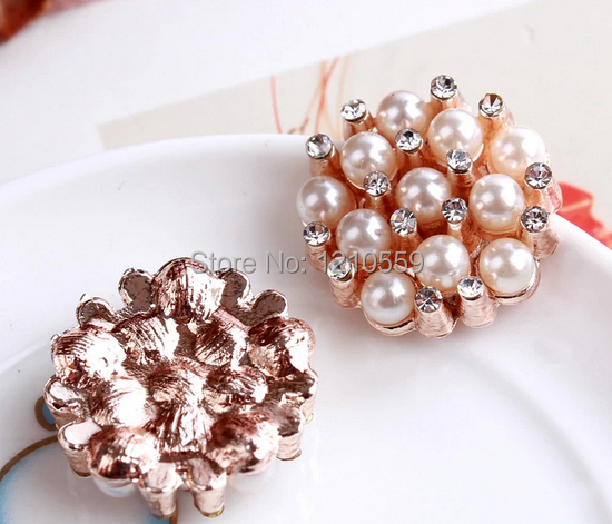 50 Pieces Wholesale Rose Gold Shank Crystal Glass Pearl Buttons Embellishment 1 hole 22mm(China (Mainland))