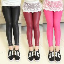 2015 kids fashion children's pants girl leggings 4-14 year kids thin leather pants trousers baby teenage girl pant child legging