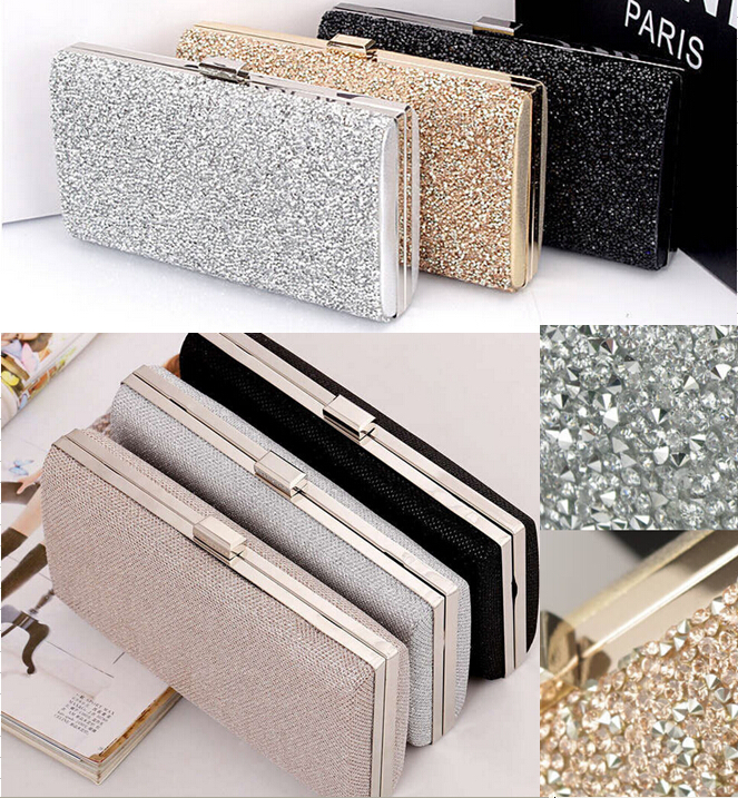 Woman Evening bag Women Diamond Rhinestone Clutches Crystal Day Clutch Wallet Wedding Purse Party Banquet Black/Gold/Silver(China (Mainland))