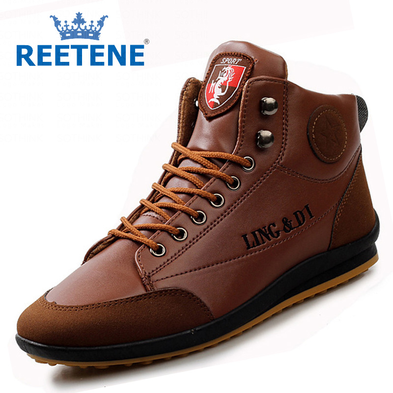Fashion Casual Shoes Men,Tall Motorcycle Boots Men Leather High Top Mens - REETENE store