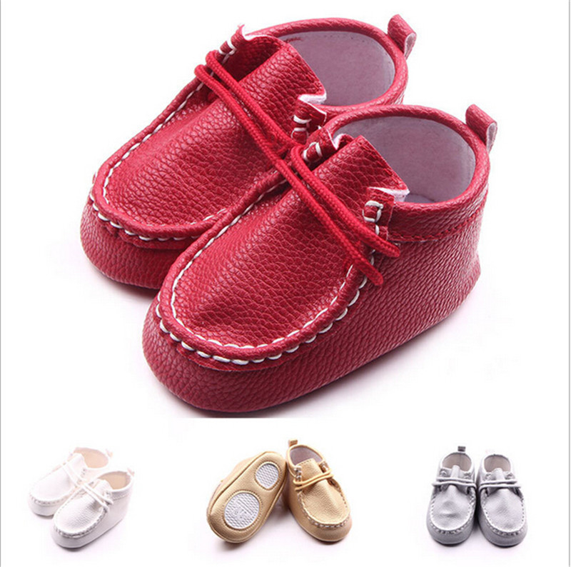 2016 Fashion Cool Solid Baby Shoes Soft Bottom Infants First Walkers Lace-Up Toddlers Crib Freeshipping - Mom, i can walk store