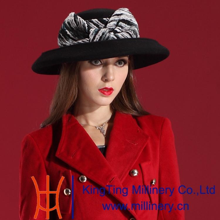 Autumn Winter Women 2015 High-grade Dress Wool Felt Hats Natural 100% Big Bowknot Joker Fashion Leisure - Shop store