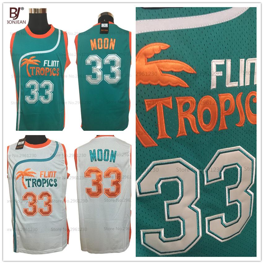 2017 Mens Flint Tropics Movie basketball jerseys Semi Pro #33 Jackie Moon Jersey Stitched Green White Basketball Shirts(China (Mainland))