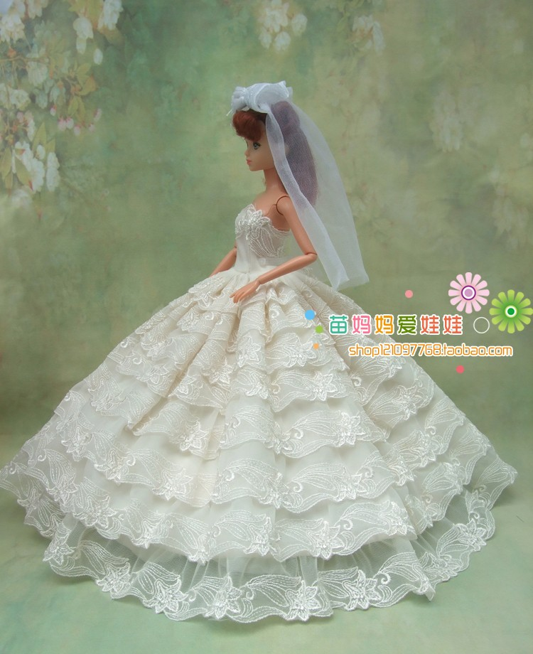 free transport high quality full round brided gown with veil for barbie doll wedding ceremony gown