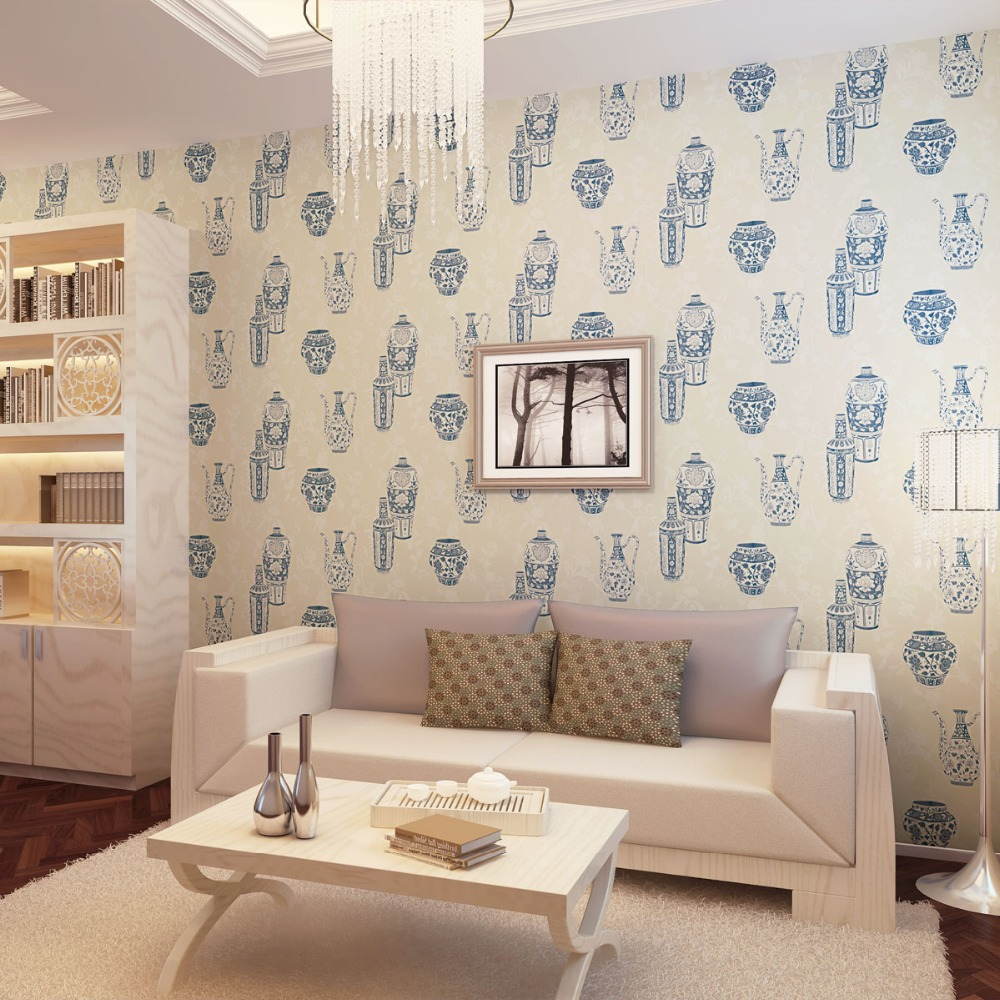 Free Shipping Wallpaper Blue And White Porcelain Classical