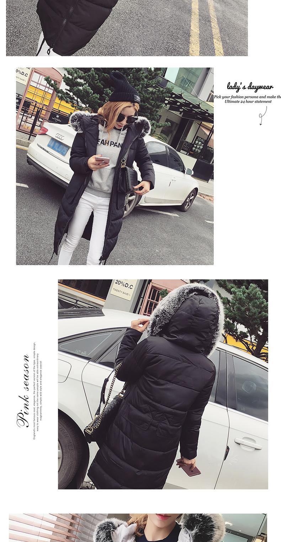 Скидки на 2016 Осень И Зима Пальто Девушки Длинные Большой Меховой Воротник хлопок Ватник Зимняя Куртка Женщин Вниз Пальто Женщин Куртки куртка