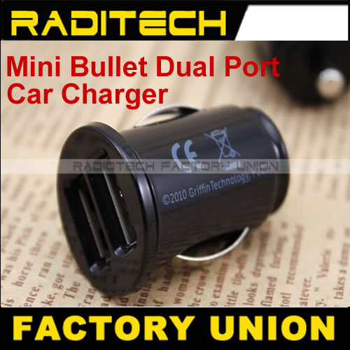 Mini Bullet Dual Port usb interface for Phone 4 g mini usb car charger