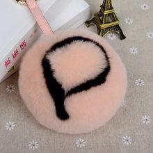 11 см кролик меховой шар пушистый начальный помпон брелок ручная работа кролик меховой шар брелок сумка Шарм Монстр Алфавит буквы помпон(China)