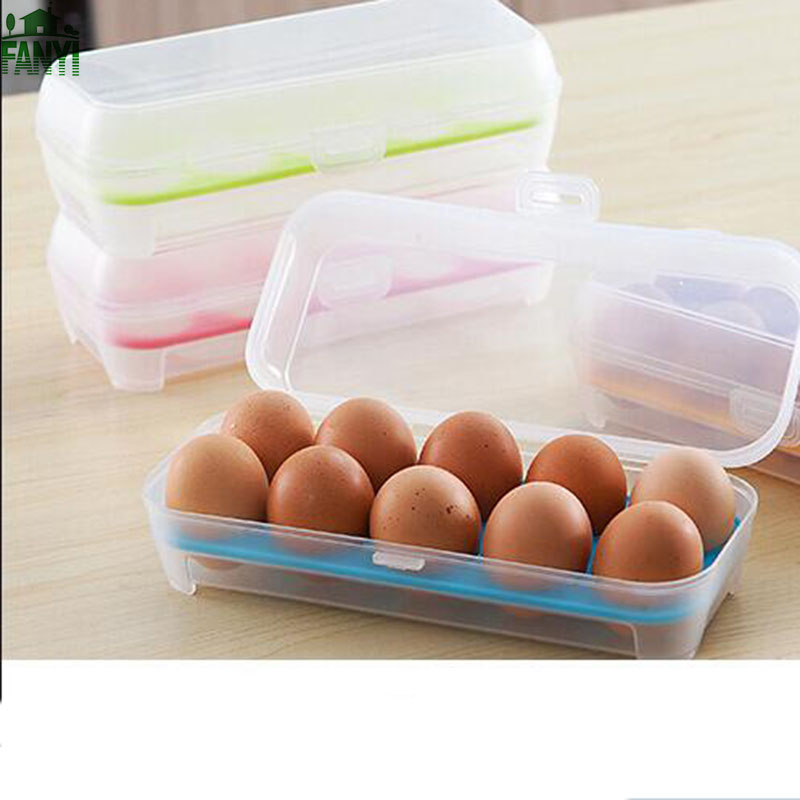 FANYI Creative Household Egg Storage Tank Transparent Clamshell 10-Egg Crisper Useful Covered Egg Box for free shipping(China (Mainland))