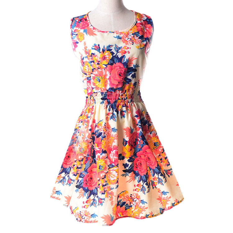 Brand 2015 Summer Women dress Casual Print Sleeveless Dress Chiffon stripe floral print Elastic Waist Bohemian Beach Dresses - Women's Fashion Boutique Show store