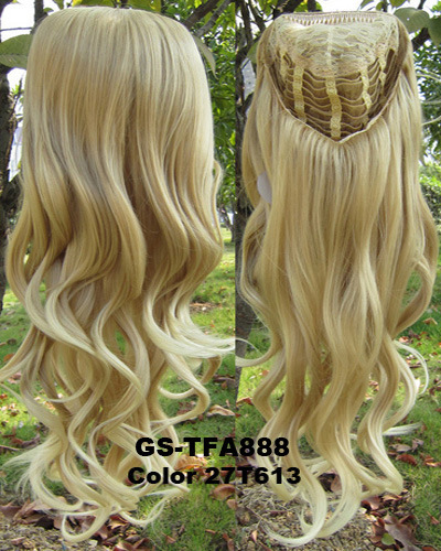 Fashion women half wigs 3/4 wig synthetic hair long wavy 27/613 color frss shipping - Sundaran store