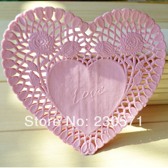 Pink Heart Lace Paper Doilies