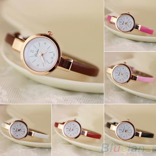 Womens Rhinestone Faux Leather Super Thin Strap Quartz Analog Dress Wrist Watch 1UA5<br><br>Aliexpress