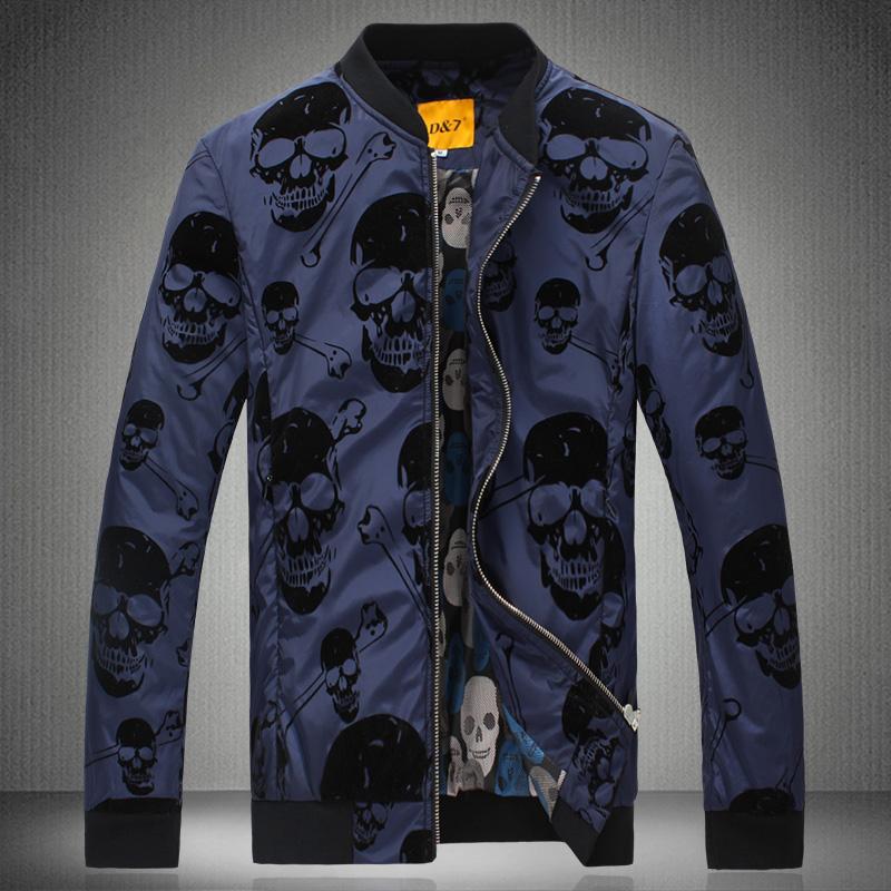 Fashion stand collar jacket casual male skull print fashion brief male slim outerwear winter jacket men