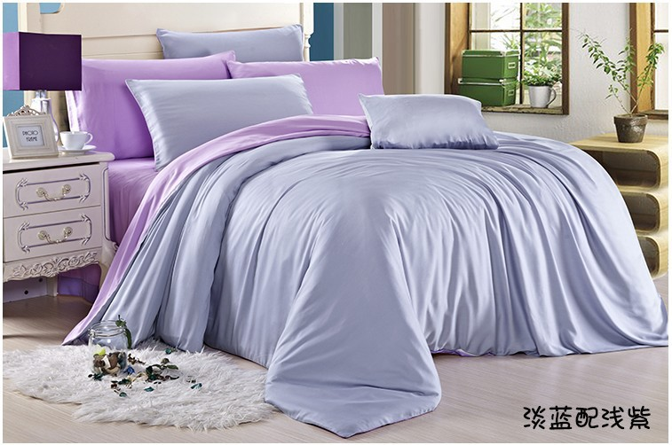 solid light blue purple bedding set queen king size silk. Black Bedroom Furniture Sets. Home Design Ideas