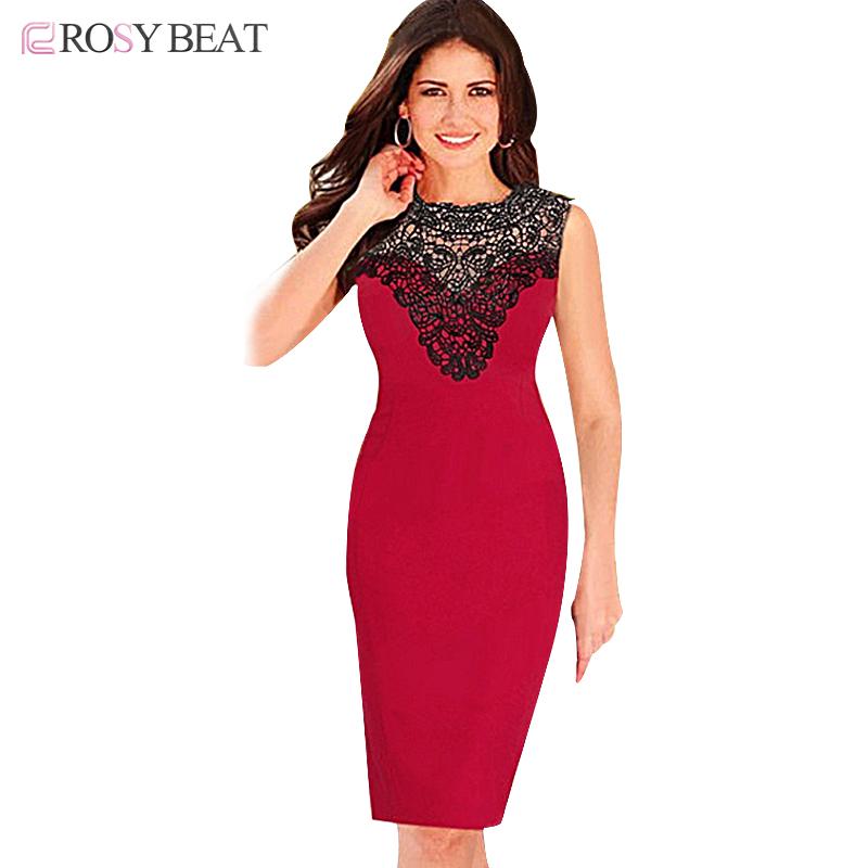 Rosybeat Pencil Dresses For Women Dress Summer Casual 2016 Slim Tight Bandage Bodycon Work Office Dresses Lace Vestido De Renda(China (Mainland))