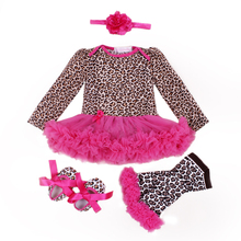 2016 Long sleeve Baby Girl Dress Set  Christening Gowns Cute Newborn Infant Vestidos Lepard Ruffle Baby Girls Baby clothing sets(China (Mainland))