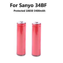 2 unids/lote Original Sanyo 18650 3400 mAh battery NCR18650BF protegida recargable Li ion 3400 mAh con PCB