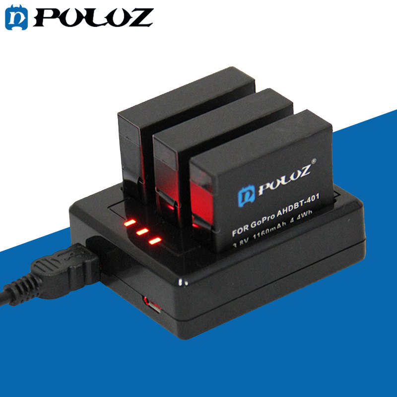 Go Pro Accessories 3-channel Battery Charger for GoPro HERO 4 (AHDBT-401)
