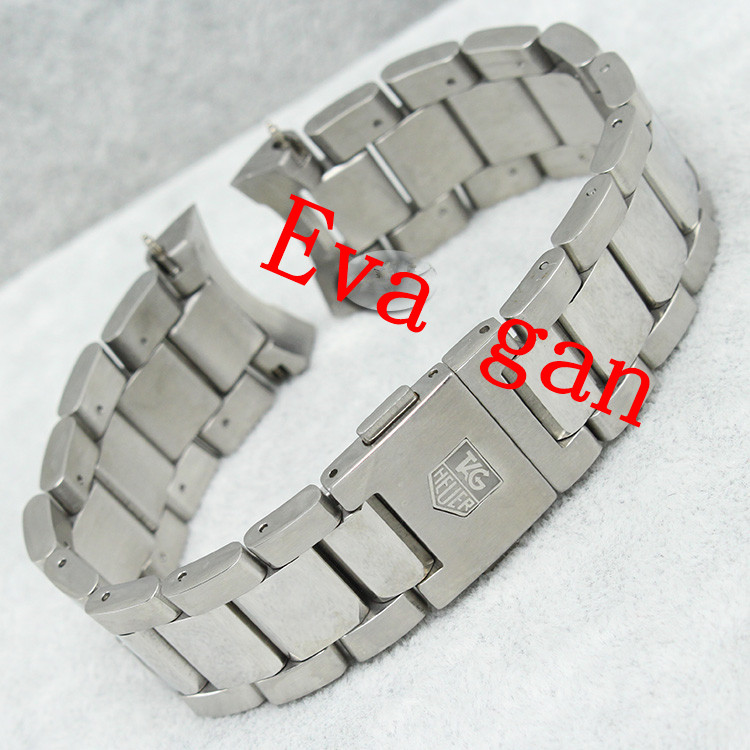 Men Watch Accessories Silver Color Stainless Steel Clasp Band 22mm Strap Bracelet Curved Interfaces End - Eva watch accessories store