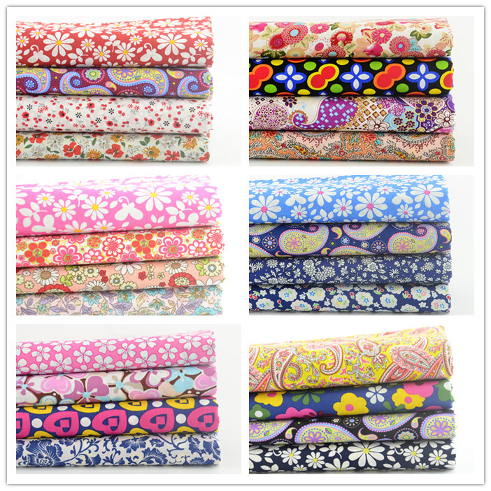 Free shipping 6 sets lot 45cmx50cm cotton poplin fabric for Childrens dress fabric
