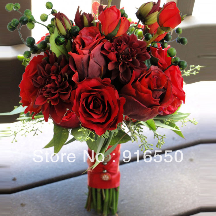 Stunner artificial red rose bridal bouquet and