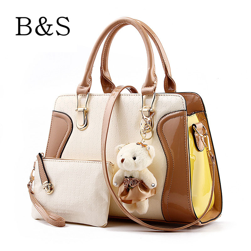 2016 Brand Splice Leather Purses And Handbags With Bear Toy Fashion 7 Color Women Shoulder Over Bags Cross-Body Female Messenger(China (Mainland))