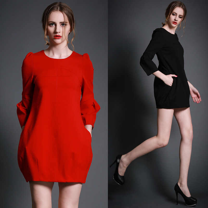 2015 new loose lantern women dress elegant high street brief lady dresses vestidos cheap clothing - Online Store 832773 store