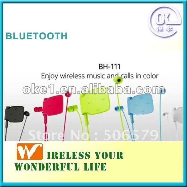 Free shipping bright colors In-ear stereo bluetooth earphone BH-111