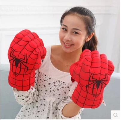 30CM Spiderman cartoon boxing gloves plush toys Creative children adult green giant birthday girls and boys free shipping(China (Mainland))