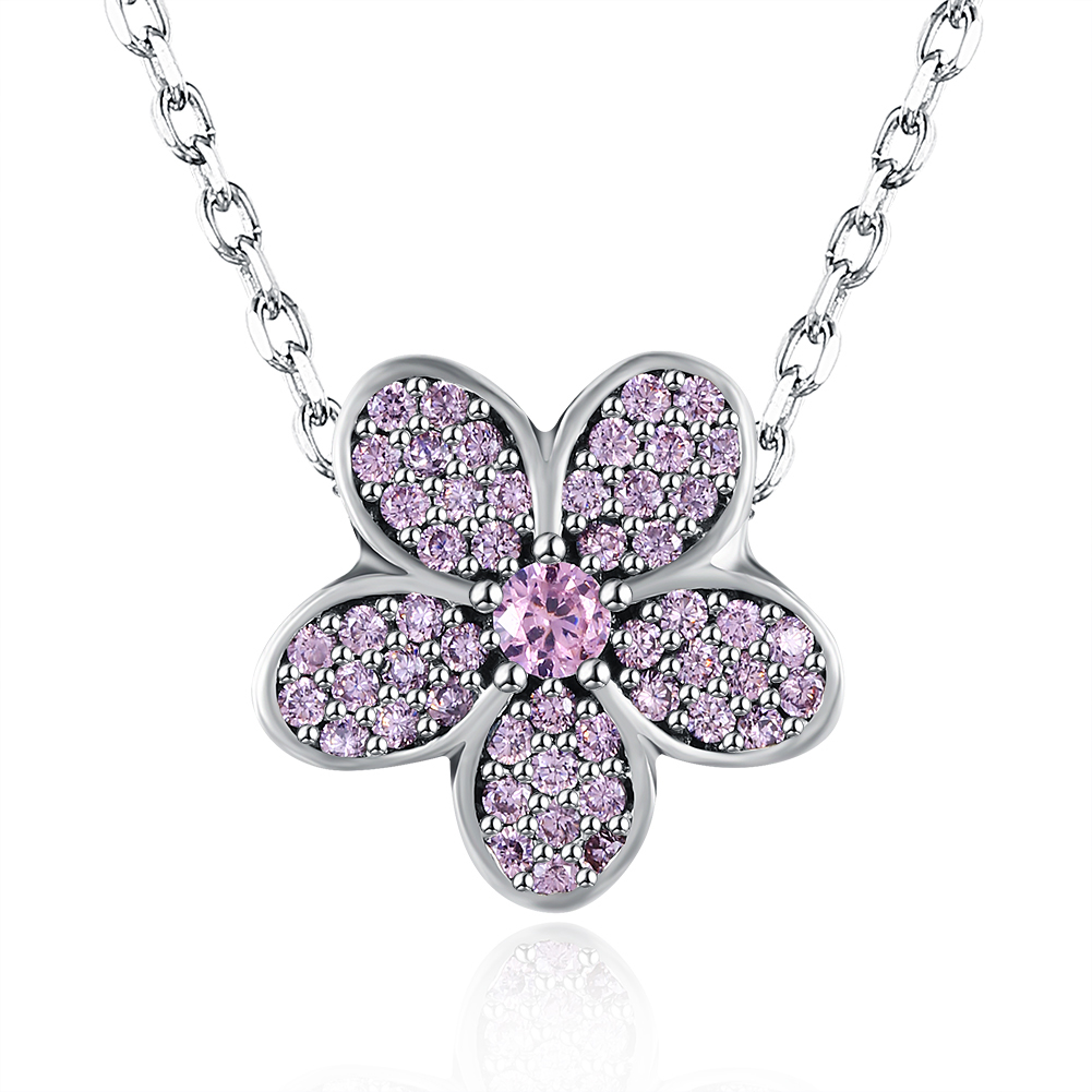 Chillax 925 Sterling Silver Rope Chain Necklace Zircon Flower Pendant Necklet Fine Jewelry Women(China (Mainland))