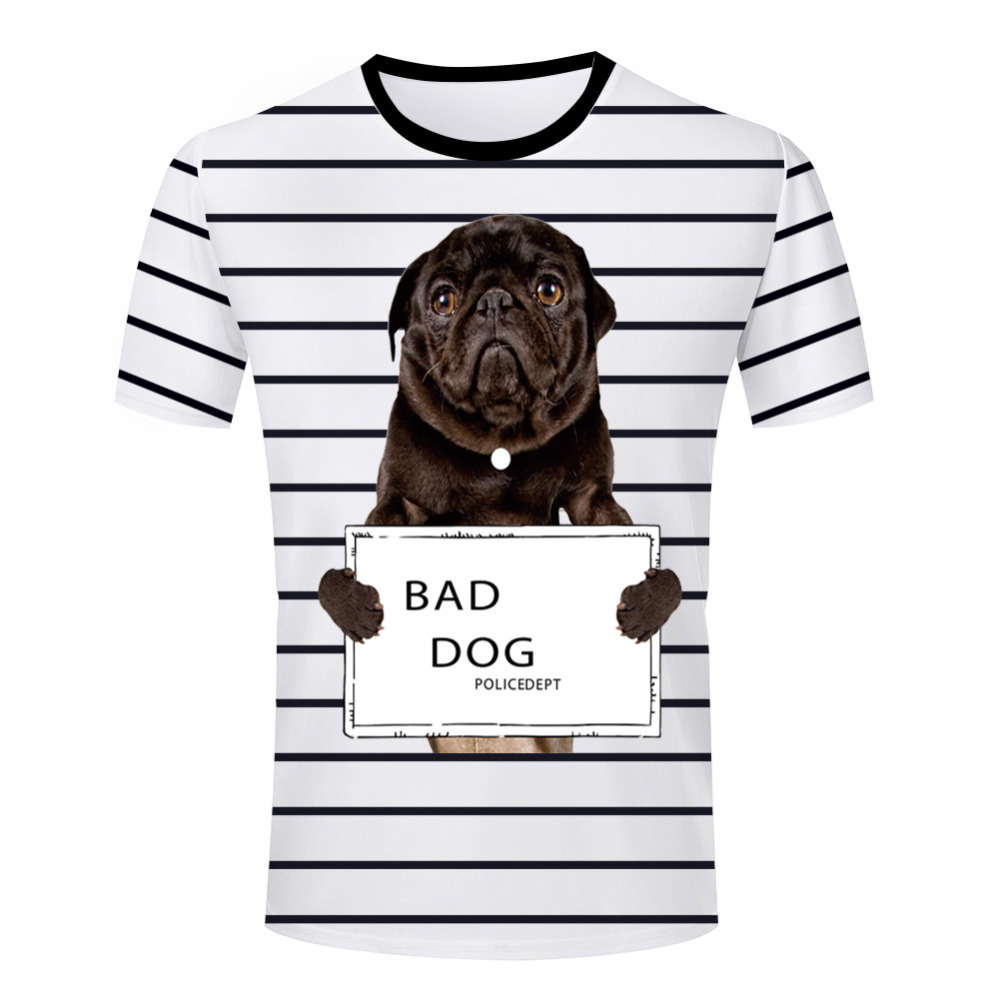 Fashion men casual bad dog t shirt funny round neck short for Dog t shirt for after surgery