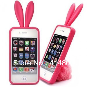 South Korea rabbit ears cell phone for ipone4 4s cell phone protective sleeve silica gel set