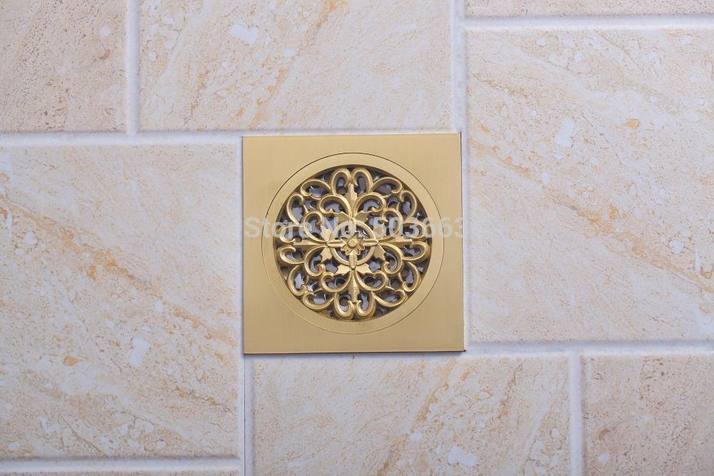 5404 Construction Real Estate Fashion Ross Antique Brass Grate Floor Register Waste Drain 4 x 4