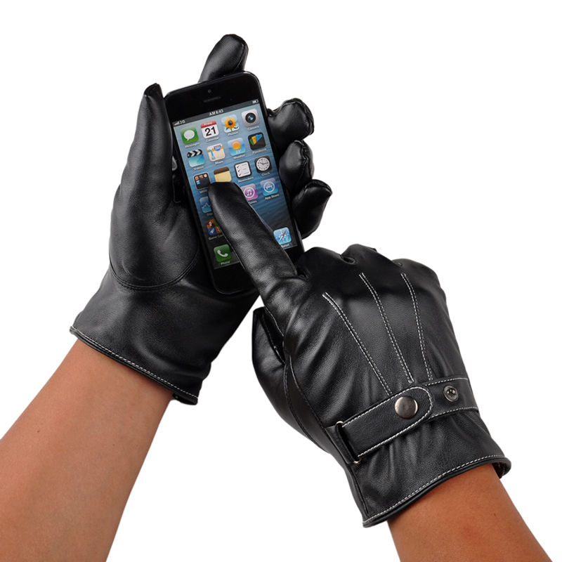 1 Pair New Trendy Pop Useful Men Black Winter PU Leather Full Finger Touch Screen Hand Gloves Mittens(China (Mainland))