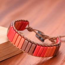Chakra pulseira jóias artesanal multi cor natural tubo de pedra contas couro envoltório casais pulseiras presentes criativos dropshipping(China)