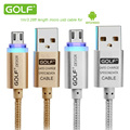 Golf Crystal LED Light Micro USB Cable Data Line Charging Nylon 2 1A Charge for Samsung