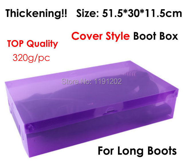 Big size boot box! size 51.5*30*11.5 cm thicken cover style transparent shoe box colors plastic storage box for boot(China (Mainland))