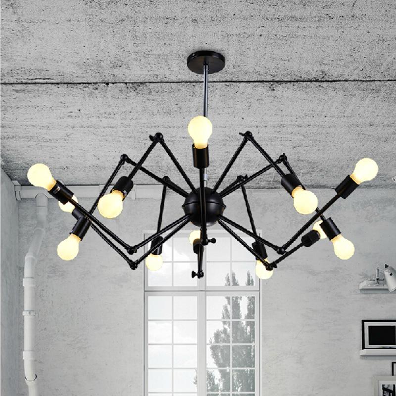 Nordic Retro pendant Edison Light Vintage industrial Loft Antique lamps black wrought iron chandelier Art Spider Fixture Light(China (Mainland))