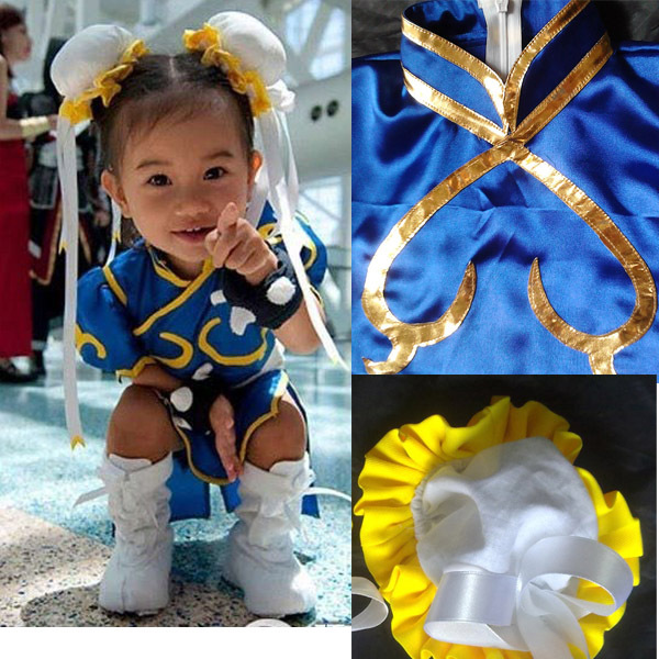 free shipping Street Fighter iv Chun Li Halloween costumes for kids cosplay costume for baby girl fancy dress costume Cheongsam(China (Mainland))