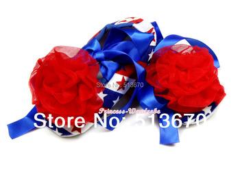 4TH July Red Rose USA Flag Stripe Star Royal Blue Ribbon Red Rose Crib Shoes Baby NB-18M MAAS018